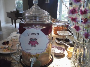 Personalized label (Marth Stewart ARts & Crafts) describes tea & names honored guest