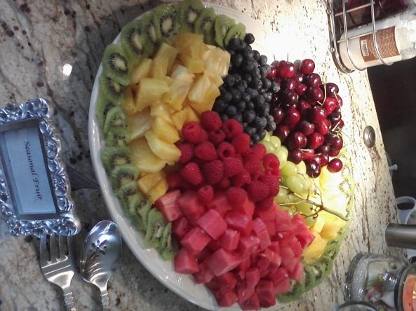Organic Summer Fruits make a dramatic enticing display