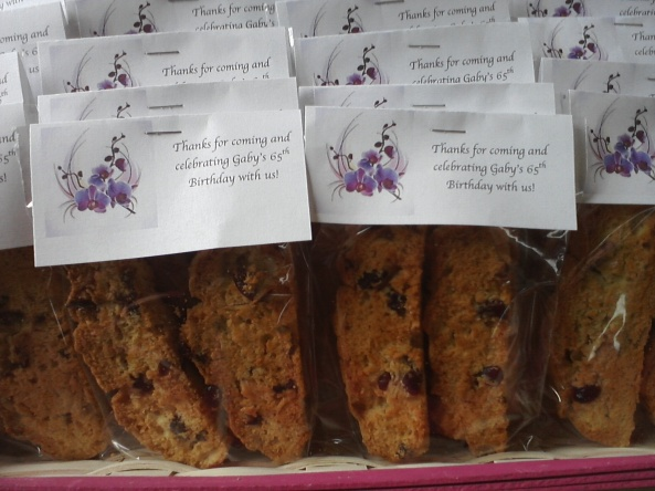 Printed Labels In Color Theme, and Biscotti Say Thanks for Attending